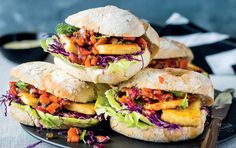 Crispy halloumi rolls with red pepper relish