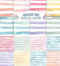 Watercolor stripes pattern set