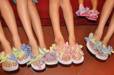 """Made these cute flip flops at my daughter's slumber party...the girls loved 'em and each chose a different pattern!  Cut 6"""" strips, tie in knot...ta-da!!!  Perfect for a tween party"""
