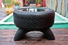 recycled automobile tires.   glass-top coffee table.