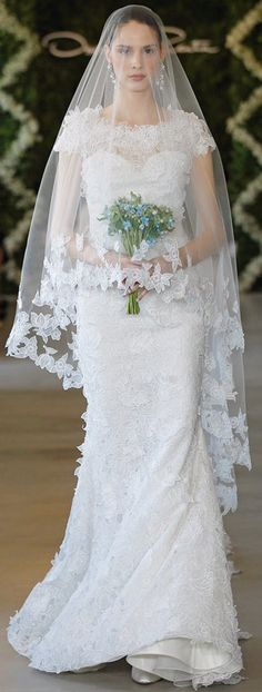 Oscar de la Renta Bridal 2013 ~ hite threadwork organza bateau neck gown with floral applique