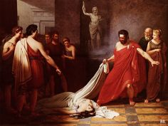 Aegisthus believing he has found the body of Orestes is surprised to find     Clytemnestra. 1823.