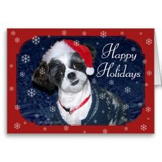 Christmas Dog Happy Holiday Shih Tzu Image with Santa Hat Greeting Cards