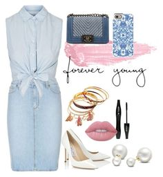 """""""Untitled #39"""" by ohoud-alshammari on Polyvore featuring Lancôme, Paige Denim, By Terry, Topshop, Chanel, Jimmy Choo, Allurez, Lime Crime and Casetify"""