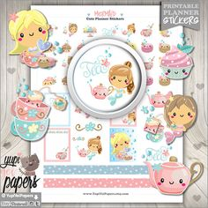 *****REGULAR PRICE $2usd - NOW $0.98usd***** -----------------------------------------------------  Tea Stickers, Planner Stickers, Mermaid Stickers for your planner Printable Planner stickers are perfect to use in your planner, notebooks, calendars and more!. You can print these out