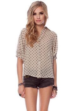 Who Woulda Dot Blouse in Beige $23 at www.tobi.com