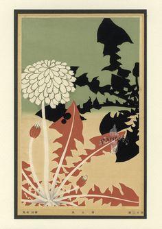 Meiji Woodblock print - dandelions