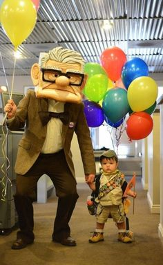 Great for parties or Halloween. Fredricksen Costume from the Movie UP.- This is a great tutorial that would work for multiple different kinds of character costumes. Up Halloween Costumes, Looks Halloween, Up Costumes, Family Costumes, Disney Costumes, Baby Halloween, Holidays Halloween, Cosplay Costumes, Disney Halloween