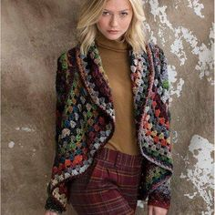 The Crochet Jacket is worked in one continuous piece. The double-crochet shell-patterned cardigan fragments Noro Taiyo into a mandalic kaleidoscope of beautiful colors. Increases are worked at each corner to the outer edge, where rapid increases shape the swingy shawl collar. The narrow sleeves are crocheted down from the armholes.    This pattern is available as a PDF download.    Skill level: Experienced  Sizes: Small (Medium, Large, X-Large)  Finished measurements: Width of back at…