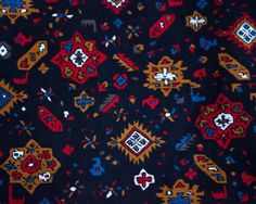 Vintage Southwestern Print Cotton Fabric Red