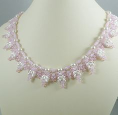 Woven Twin Bead Necklace Pink Opal