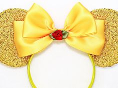 Magical Beauty and the Beast Inspired sparkle ears red rose flower bow headband. Perfect for a trip to Disney, birthday parties, photos, and cruises. So dainty! The ears are very sparkly, it shines a lot! The bow is made with satin ribbon, and in the center is a red flower flower with a