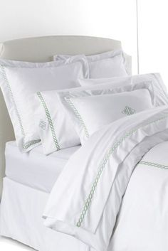 No Iron Embroidered Duvet Cover from Lands' End in White/Quarry Gray
