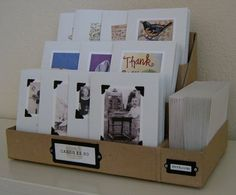 easy card display boxes ~ can do with foam board. make so it comes apart for storing.