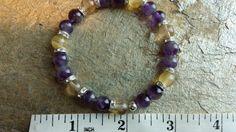 Handmade stretch bracelet natural amethyst and by RainbowReikiMJ