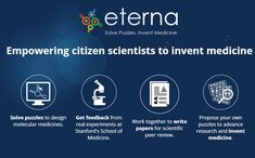 Eterna empowers citizen scientists to invent medicine through molecular design. You play by solving puzzles using RNAs, tiny molecules at the heart of every cell. Peer Review, Learning Resources, Scientists, Citizen, Proposal, Inventions, Puzzles, Medicine, Science