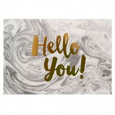 This postcard features the phrase 'Hello you!' written in gold foil and printed on a beautiful marble-effect background. Ideal to add to a scrapbook or mood board for inspiration. Hello You, Paperchase, Printed Materials, Picture Wall, Photo Wall, Stationery, Gift Wrapping, Scrapbook, Messages