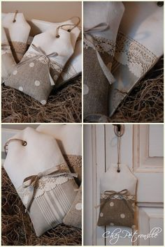 Inspiration to make sachet. Burlap Crafts, Fabric Crafts, Sewing Crafts, Sewing Projects, Lavender Bags, Lavender Sachets, Scented Sachets, Couture Sewing, Linens And Lace