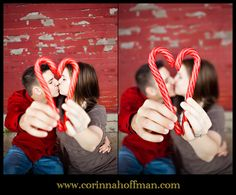 Couple picture with candy cane heart for the holidays. #Christmas www.corinnahoffman.com