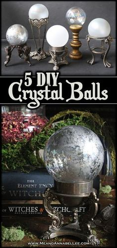 DIY Crystal Balls 5 Easy Methods 5 Easy Ideas for DIY Crystal Balls Halloween Crafts and Decorations Witches Dinner Party Table Setting Frosted Glass and Faux Mercury Glass Tutorials Pagan Fortune Telling Gazing Balls www MeandAnnabelLee Halloween Prop, Halloween Tags, Halloween 2018, Halloween Projects, Diy Halloween Decorations, Holidays Halloween, Diy Projects, Samhain Decorations, Halloween Witches