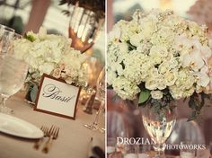 The reception was filled with beautiful, lush, white flower arrangements!   Florist: The Flower House http://theflowerhouse.com/