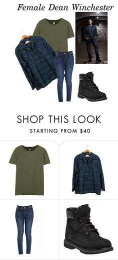 """Female Dean Winchester"" by plastic-diamond-rings ❤ liked on Polyvore featuring NLST, Pendleton and Timberland"