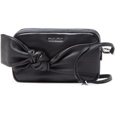 Miu Miu Double Zip Bow Crossbody ($799) ❤ liked on Polyvore featuring bags, handbags, shoulder bags, black, crossbody purse, black leather shoulder bag, leather crossbody handbags, crossbody handbags and black purse