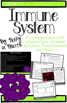 This unit contains 62 pages for teaching all about the Immune System. The unit is divided into 7 different lessons. There are lesson plans for each lesson as well as student recording pages and extension activities. There are three separate student labs included (Spreading Germs Lab, Skin Lab and Blood Lab). There are also blood component poster, vocabulary posters, germ fighting posters and even more!!