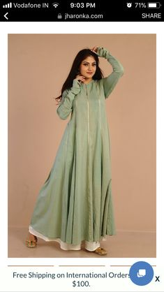 Anarkali plazzo Pakistani Dresses, Indian Dresses, Indian Outfits, Kurti Embroidery Design, Embroidery Fashion, Simple Dresses, Casual Dresses, Salwar Designs, Dress Designs