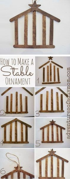 The kids will love making these! DIY Stable Ornaments Tutorial | Adventures of a DIY Mom - Easy and Cheap DIY Christmas Tree Ornaments