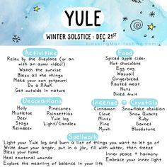 Winter Solstice - Blessing Manifesting Winter solstice and Yule correspondences and ideas for ritual and celebration. Winter solstice and Yule correspondences and ideas for ritual and celebration. The Wheel of the Year: Yule