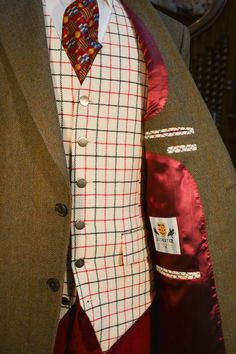 Hunter Tweed Jacket with Cream Tattersall Waistcoat - Bookster Tailoring