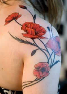 Beautiful red poppy flower tattoo