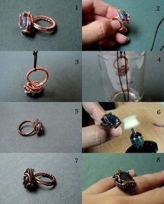Fradany : Tutorial: (aging copper with amonia) Envejecer cobre con Amoniaco Diy Jewelry Rings, Diy Rings, Diy Jewelry Making, Wire Jewelry, Jewelry Crafts, Beaded Jewelry Designs, Handmade Jewelry, Wire Tutorials, How To Make Rings