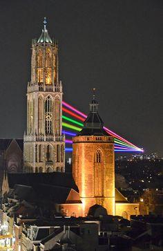 """Utrecht """"De Dom in laserlicht"""""""