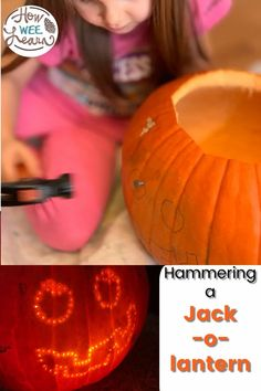 An easy no-carve pumpkin decorating idea for preschoolers and kindergarten aged children! Use a hammer and some nails or golf tees to create this cute pumpkin decoration ideal for Halloween!