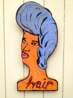 Original Folk Art - Hand painted decorative wooden head. Created by artist Angela Walsh.