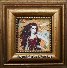 MINIATURE REBECA Mixed media on canvas: 10 x 10 cm Frame: 20 x 20 x 2,5 cm