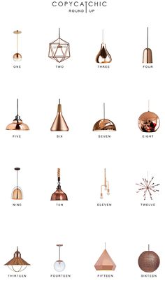 Copper Pendant Lighting Roundup : Our fave copper lighting picks by Copy Cat Chic luxe living for less budget home decor 16 of our favorite copper and rose gold chandeliers and pendants Round Pendant Light, Copper Pendant Lights, Copper Lamps, Copper Lighting, Modern Lighting, Copper Light Fixture, Bar Lighting, Copper Hanging Lights, Cool Light Fixtures