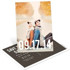 Save the Date Postcards -- Big Date Vertical Photo