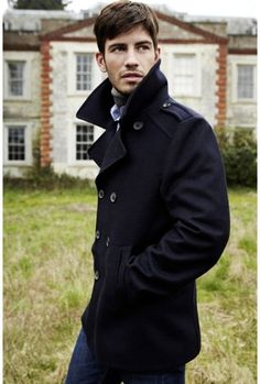 Props for the prominent collar on this peacoat.