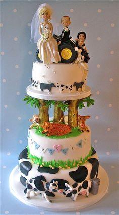 Jimmy's Farm wedding cake - by niceicing @ CakesDecor.com - cake decorating website
