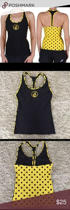 Volcom racer back workout top Volcome women's workout top size small. Worn ONCE for a photoshoot. Built in bra, bathing suit material so could also be worn as a rash guard. In perfect condition. Volcom Tops Tank Tops