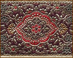 Treasure, Jacquard Ribbon Fabric Trim, 2-3/8 inch, Gold - Wine - Green - Red - Yellow [Athena's Grove, fabric trims fit for a Queen]