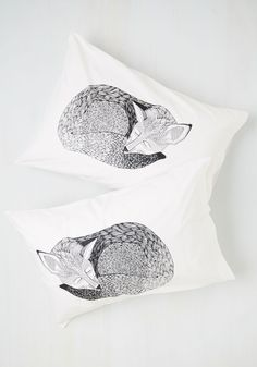 Sly Rest My Case Pillow Sham Set. Snuggle up to the adorable charm of these black-and-white pillow shams. #multi #modcloth