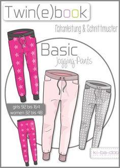 Twin(e)book Basic Jogging Pants Damen- Schnittmuster und Anleitung als PDF, versandkostenfrei