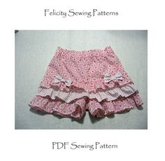 ON SALE! Silly Frilly Shorts girl's pdf sewing pattern, children's pdf sewing pattern for girls 1-10 yrs, plus a FREE top pattern & tutorial on Etsy, 4,50€