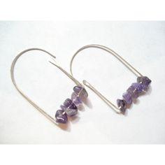 Sterling silver Amethyst Hoop Earrings, Handmade Purple Earrings,... ($17) via Polyvore featuring jewelry, earrings, purple amethyst jewelry, sterling silver jewellery, purple earrings, sterling silver earrings and silver jewellery