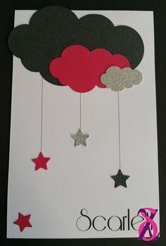 Faire-part de naissance fille thème nuage