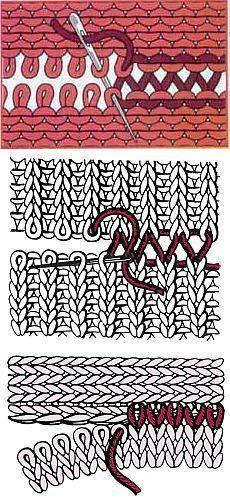 Naht schliessen Knitting Techniques techniques used in knitting Knitting Help, Knitting Stiches, Loom Knitting, Crochet Stitches, Hand Knitting, Knitting Patterns, Crochet Patterns, Sewing Stitches, Knitting Machine